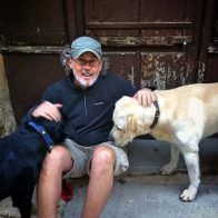 Sean-with-Margaux-and-Yellow-Lab